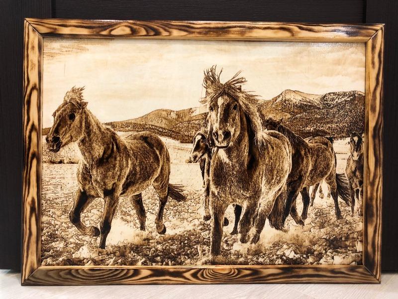 horses wood burnings