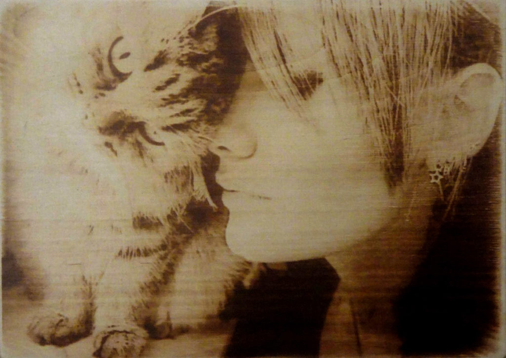 lady with cat pyrography