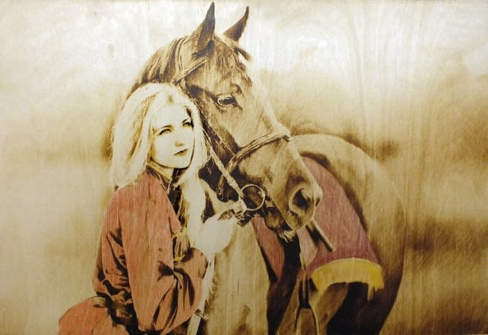 13 lady and horse - pyrography with paint