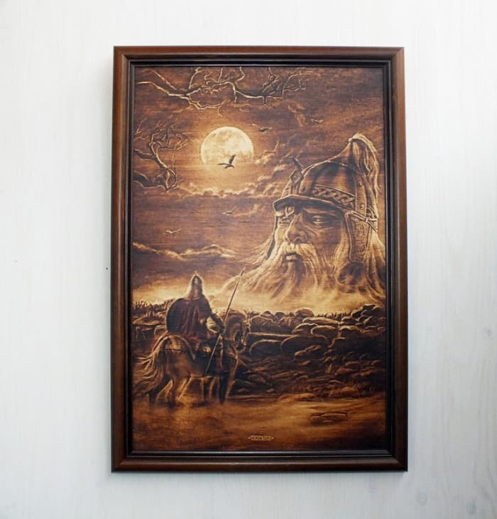 4 woodart with paint and woodburning